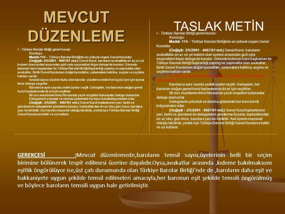 MEVCUT DÜZENLEME TASLAK METİN I - Türkiye Barolar Birliği genel kurulu: Kuruluşu: Madde 114 – Türkiye Barolar Birliğinin en yüksek organı Genel Kuruld