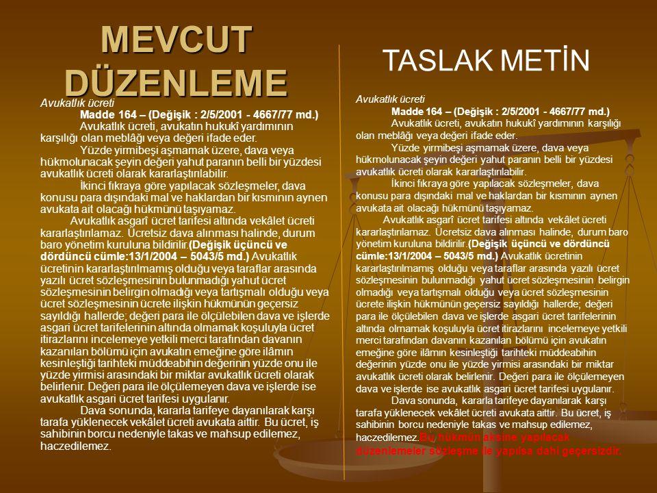 MEVCUT DÜZENLEME TASLAK METİN Avukatlık ücreti Madde 164 – (Değişik : 2/5/2001 - 4667/77 md.) Avukatlık ücreti, avukatın hukukî yardımının karşılığı o