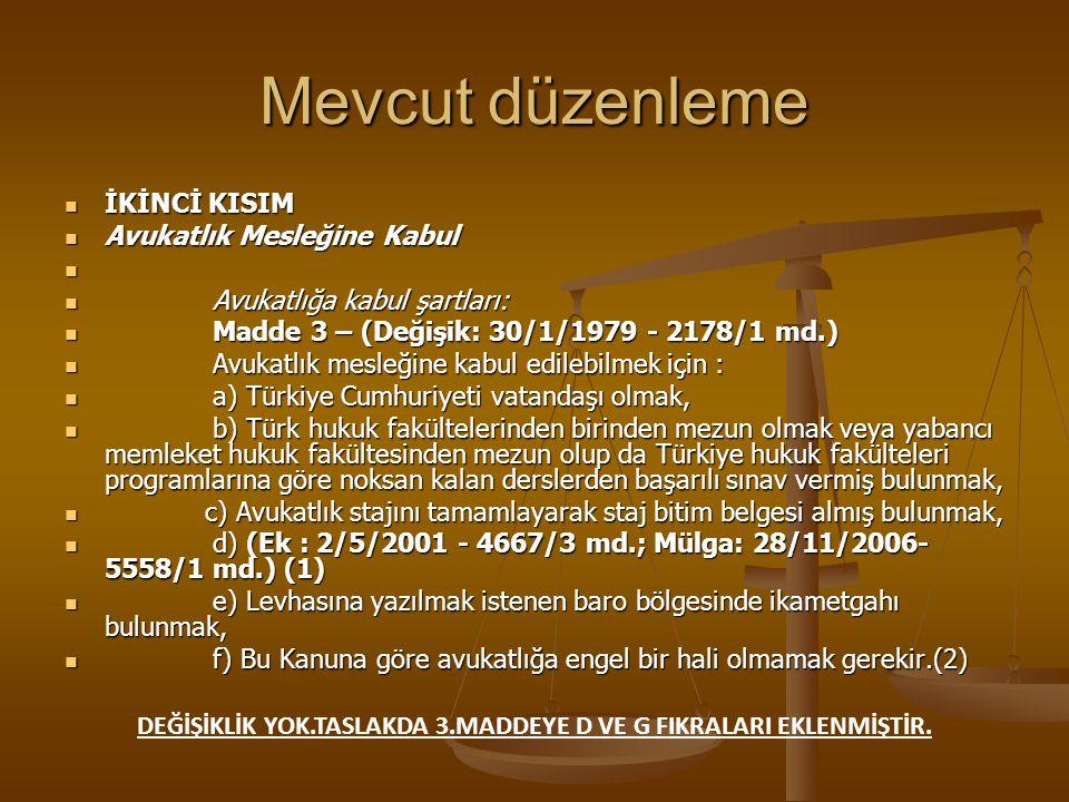 MEVCUT DÜZENLEME TASLAK METİN Sır saklama: Madde 36 – Avukatların, kendilerine tevdi edilen veya gerek avukatlık görevi, gerekse,Türkiye Barolar Birliği ve barolar organlarındaki görevleri dolayısiyle öğrendikleri hususları açığa vurmaları yasaktır.