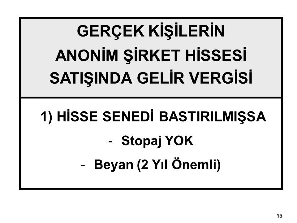 1515 GERÇEK KİŞİLERİN ANONİM ŞİRKET HİSSESİ SATIŞINDA GELİR VERGİSİ 1) HİSSE SENEDİ BASTIRILMIŞSA - Stopaj YOK - Beyan (2 Yıl Önemli)