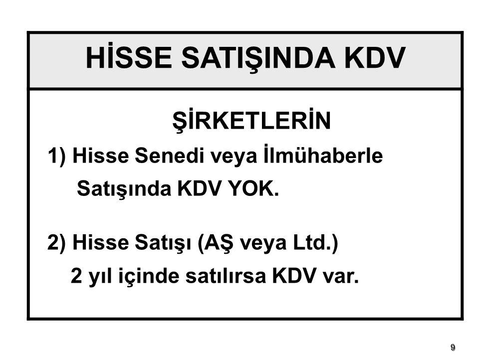 1010 HİSSE SENEDİ VE İŞTİRAK HİSSESİ KAVRAMI KDVK Md. 17/4-g KDVK Md. 17/4-r