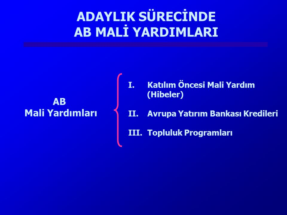 AB Mali Yardımları I.Katılım Öncesi Mali Yardım (Hibeler) II.Avrupa Yatırım Bankası Kredileri III.Topluluk Programları ADAYLIK SÜRECİNDE AB MALİ YARDI