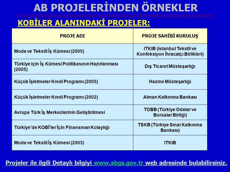 AB PROJELERİNDEN ÖRNEKLER KOBİLER ALANINDAKİ PROJELER: PROJE ADIPROJE SAHİBİ KURULUŞ Moda ve Tekstil İş Kümesi (2005) ITKIB (Istanbul Tekstil ve Konfe