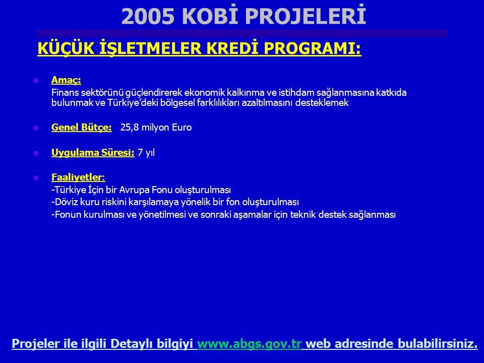 2005 KOBİ PROJELERİ KÜÇÜK İŞLETMELER KREDİ PROGRAMI: Projeler ile ilgili Detaylı bilgiyi www.abgs.gov.tr web adresinde bulabilirsiniz.www.abgs.gov.tr