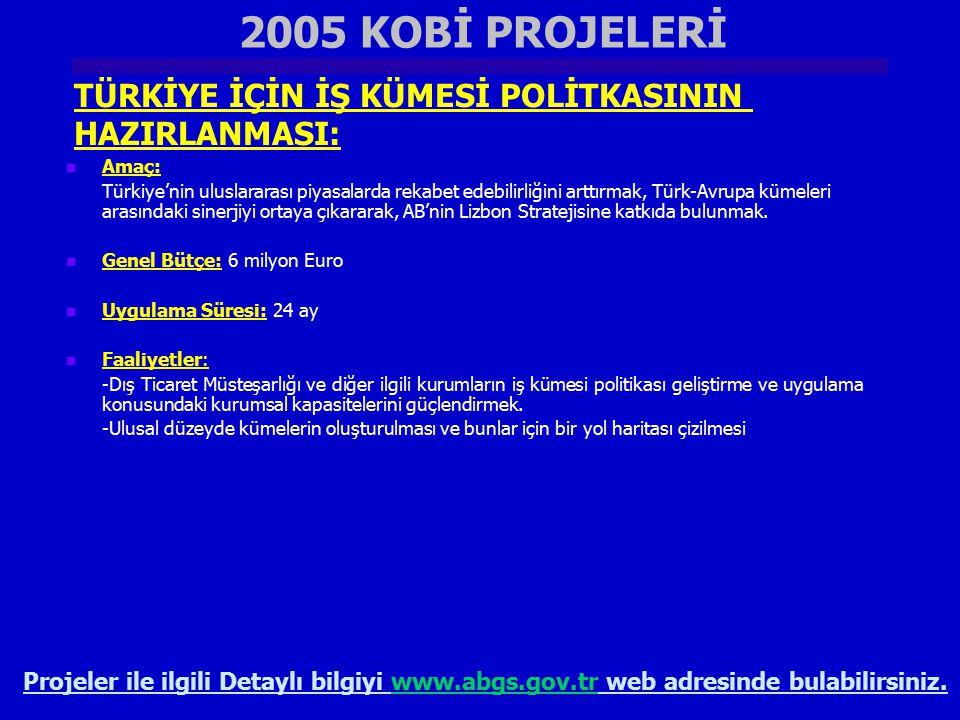 2005 KOBİ PROJELERİ TÜRKİYE İÇİN İŞ KÜMESİ POLİTKASININ HAZIRLANMASI: Projeler ile ilgili Detaylı bilgiyi www.abgs.gov.tr web adresinde bulabilirsiniz