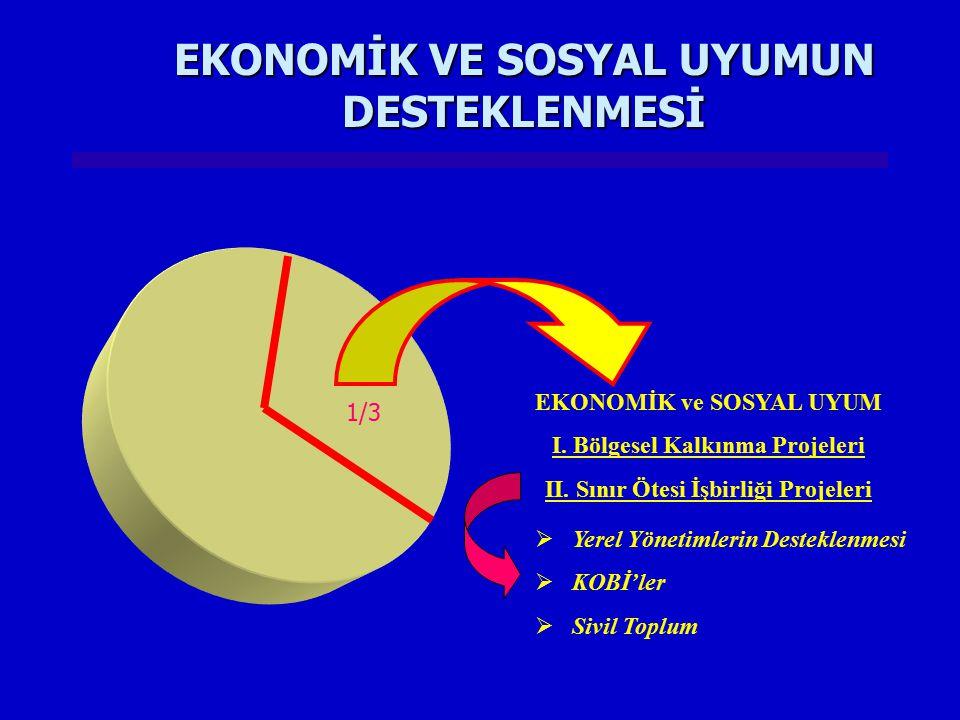 EKONOMİK VE SOSYAL UYUMUN DESTEKLENMESİ 1/3  Yerel Yönetimlerin Desteklenmesi  KOBİ'ler  Sivil Toplum EKONOMİK ve SOSYAL UYUM I. Bölgesel Kalkınma