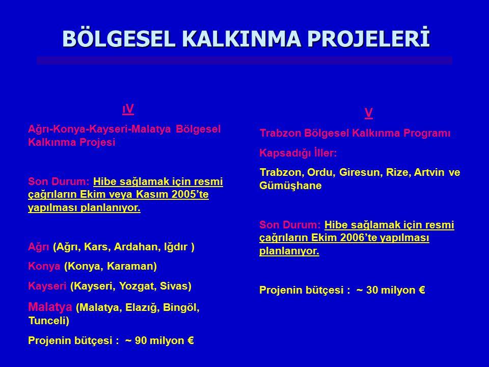 BÖLGESEL KALKINMA PROJELERİ V Trabzon Bölgesel Kalkınma Programı Kapsadığı İller: Trabzon, Ordu, Giresun, Rize, Artvin ve Gümüşhane Son Durum: Hibe sa
