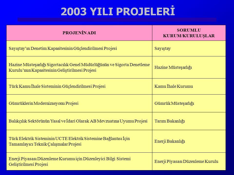 2003 YILI PROJELERİ Sayıştay'ın Denetim Kapasitesinin Güçlendirilmesi ProjesiSayıştay PROJENİN ADI SORUMLU KURUM/KURULUŞLAR Sayıştay'ın Denetim Kapasi