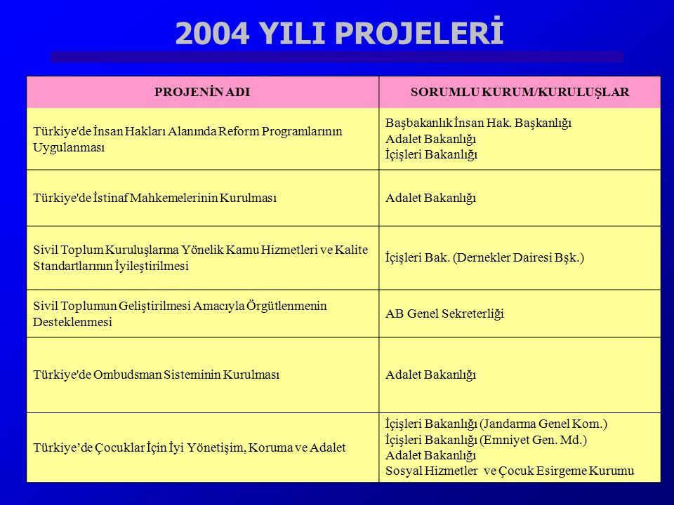 2004 YILI PROJELERİ Sayıştay'ın Denetim Kapasitesinin Güçlendirilmesi ProjesiSayıştay Türkiye'de Denetimli Serbestliğin GeliştirilmesiAdalet Bakanlığı
