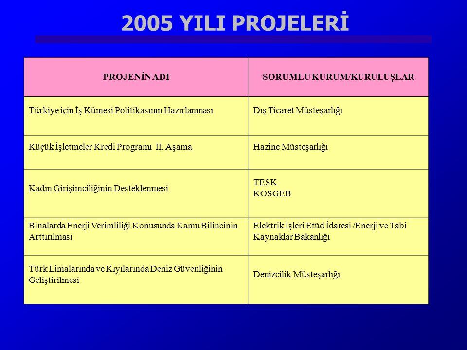2005 YILI PROJELERİ PROJENİN ADISORUMLU KURUM/KURULUŞLAR Türkiye için İş Kümesi Politikasının HazırlanmasıDış Ticaret Müsteşarlığı Küçük İşletmeler Kr