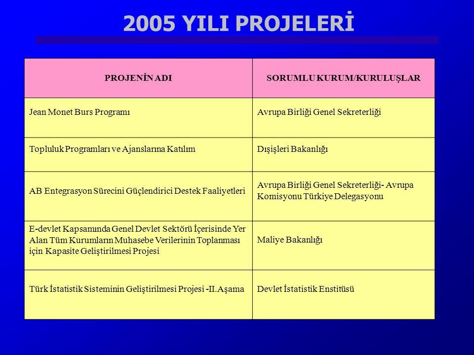 2005 YILI PROJELERİ PROJENİN ADISORUMLU KURUM/KURULUŞLAR Jean Monet Burs ProgramıAvrupa Birliği Genel Sekreterliği Topluluk Programları ve Ajanslarına