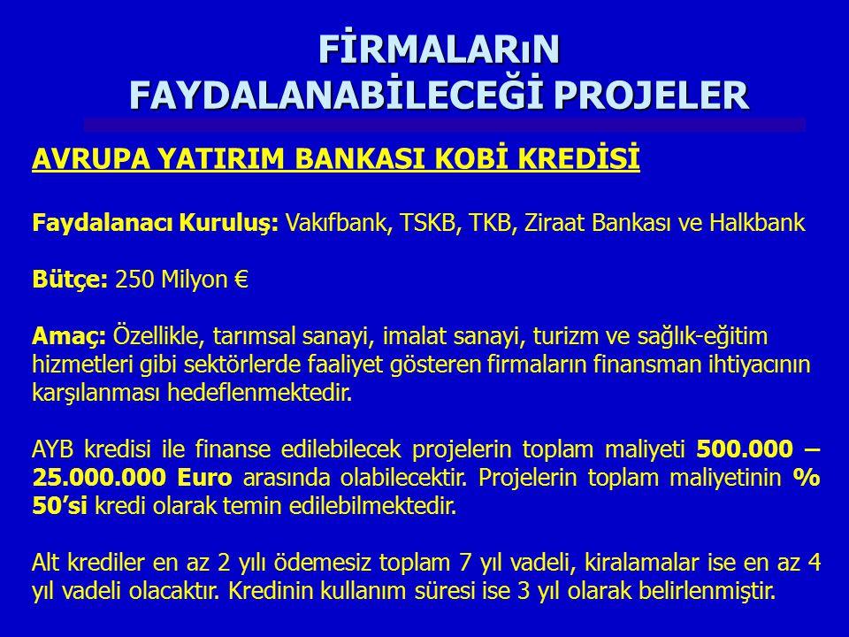 FİRMALARıN FAYDALANABİLECEĞİ PROJELER AVRUPA YATIRIM BANKASI KOBİ KREDİSİ Faydalanacı Kuruluş: Vakıfbank, TSKB, TKB, Ziraat Bankası ve Halkbank Bütçe: