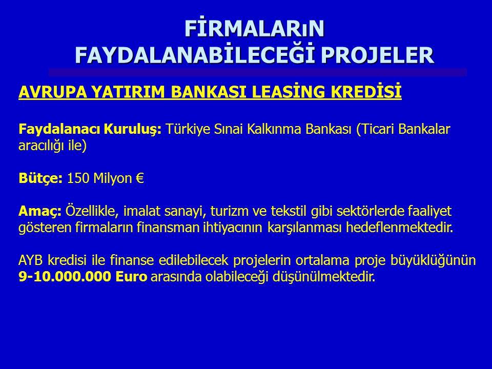 FİRMALARıN FAYDALANABİLECEĞİ PROJELER AVRUPA YATIRIM BANKASI LEASİNG KREDİSİ Faydalanacı Kuruluş: Türkiye Sınai Kalkınma Bankası (Ticari Bankalar arac