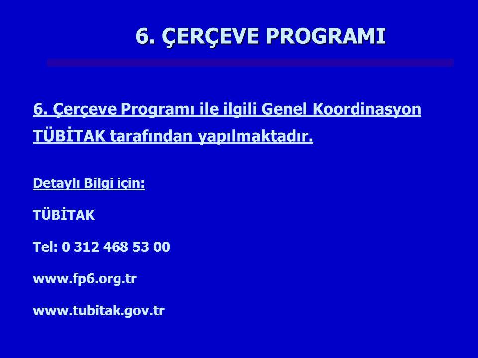6. ÇERÇEVE PROGRAMI 6. Çerçeve Programı ile ilgili Genel Koordinasyon TÜBİTAK tarafından yapılmaktadır. Detaylı Bilgi için: TÜBİTAK Tel: 0 312 468 53