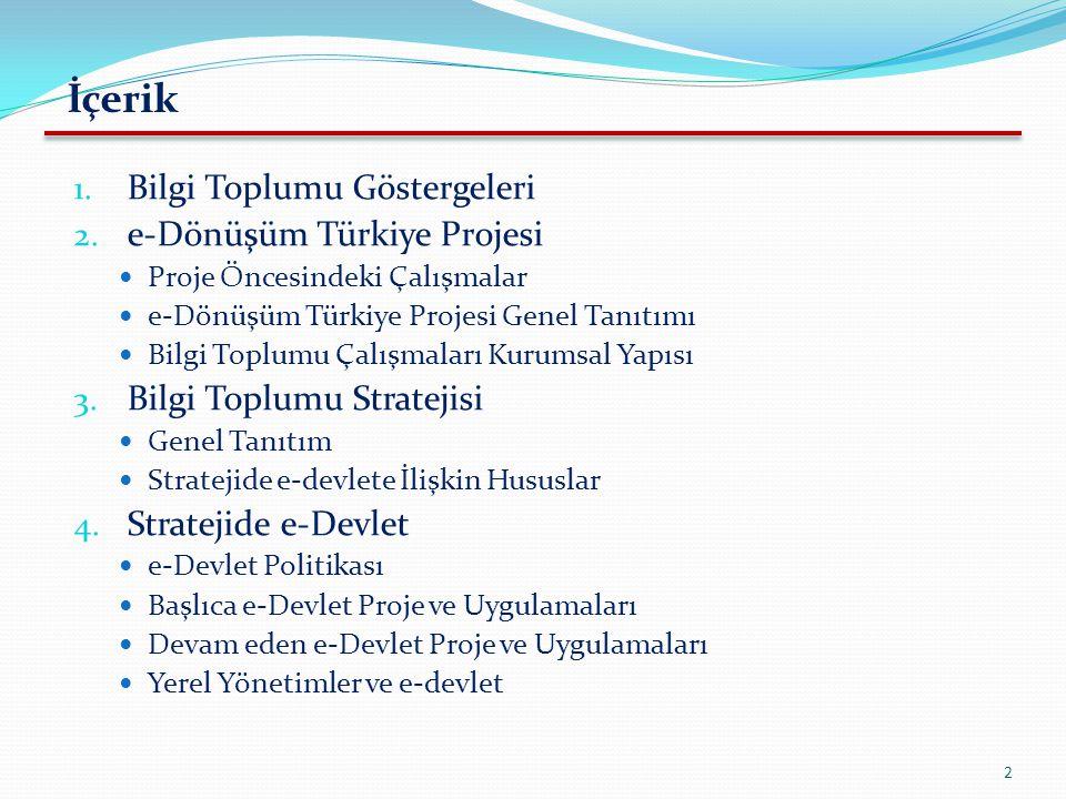 İçerik 1. Bilgi Toplumu Göstergeleri 2. e-Dönüşüm Türkiye Projesi Proje Öncesindeki Çalışmalar e-Dönüşüm Türkiye Projesi Genel Tanıtımı Bilgi Toplumu
