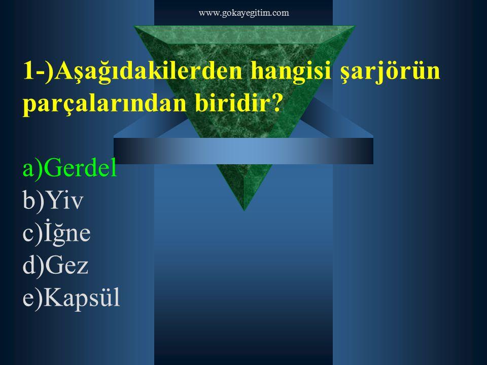 www.gokayegitim.com 1-)Aşağıdakilerden hangisi şarjörün parçalarından biridir? a)Gerdel b)Yiv c)İğne d)Gez e)Kapsül