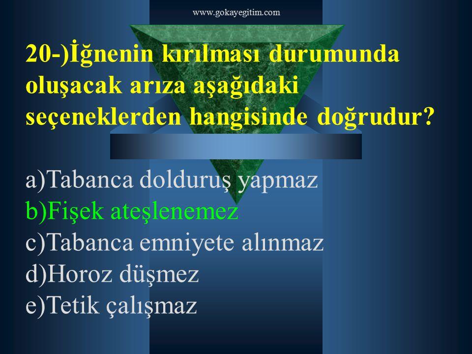 www.gokayegitim.com 20-)İğnenin kırılması durumunda oluşacak arıza aşağıdaki seçeneklerden hangisinde doğrudur? a)Tabanca dolduruş yapmaz b)Fişek ateş