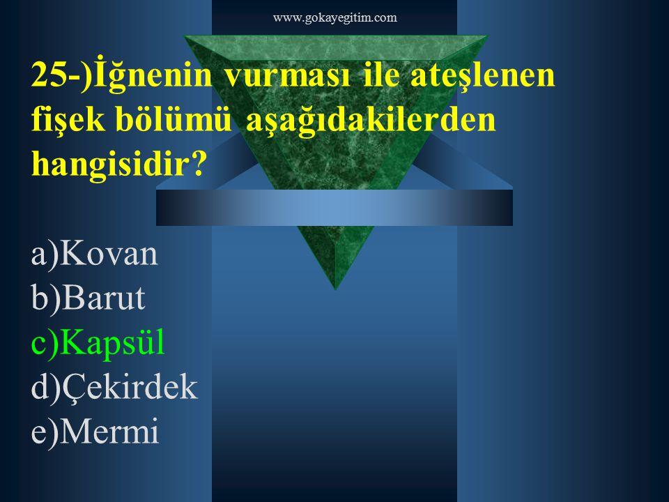 www.gokayegitim.com 25-)İğnenin vurması ile ateşlenen fişek bölümü aşağıdakilerden hangisidir? a)Kovan b)Barut c)Kapsül d)Çekirdek e)Mermi