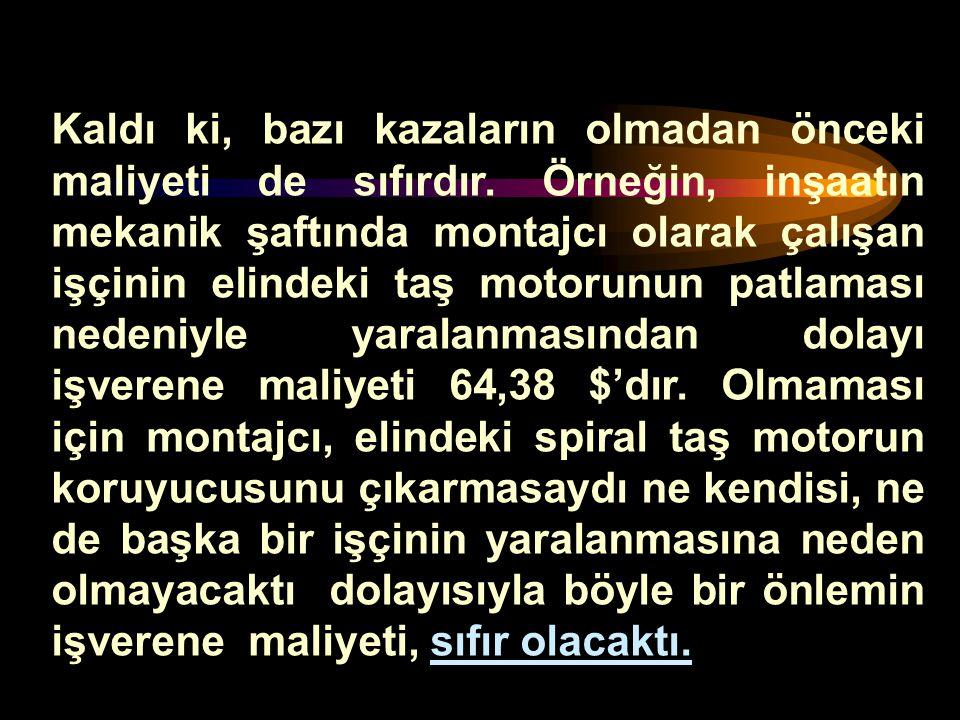 Türkiye'de ; Örneğin ölümlü bir kaza nedeniyle kaybedilen 71.554 $ karşılığında; Bir inşaatta 1.430 m 3 BS 25 beton dökülebilir veya bir binanın dış c
