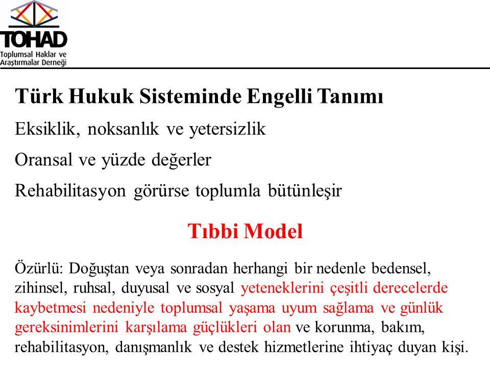 Türk Hukuk Sisteminde Engelli Tanımı Eksiklik, noksanlık ve yetersizlik Oransal ve yüzde değerler Rehabilitasyon görürse toplumla bütünleşir Tıbbi Mod