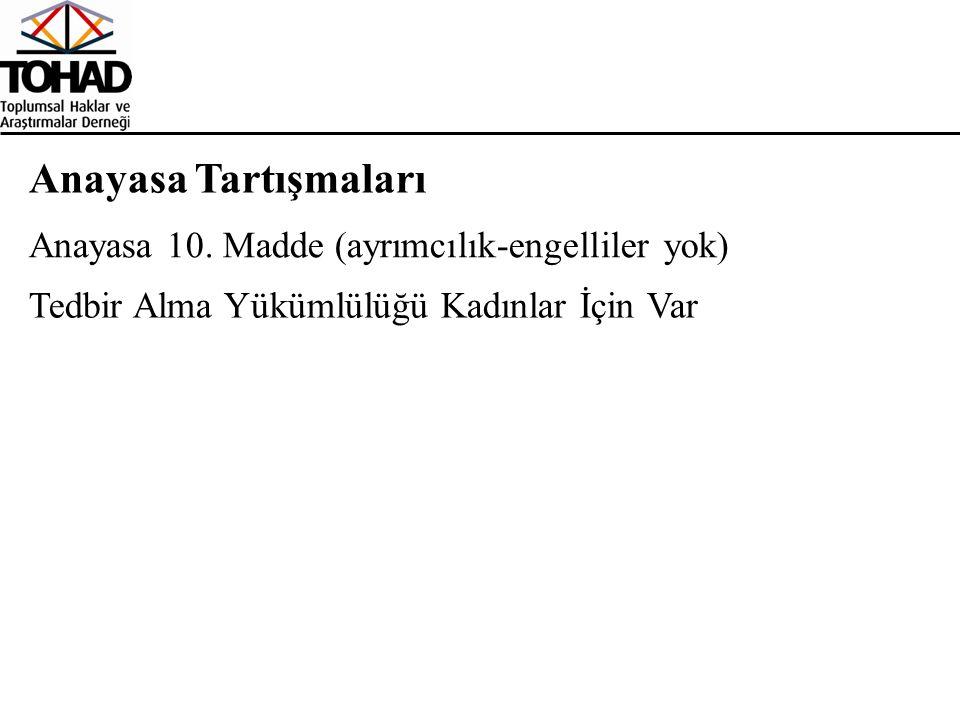 Anayasa Tartışmaları Tedbir Alma Yükümlülüğü Kadınlar İçin Var Anayasa 10. Madde (ayrımcılık-engelliler yok)