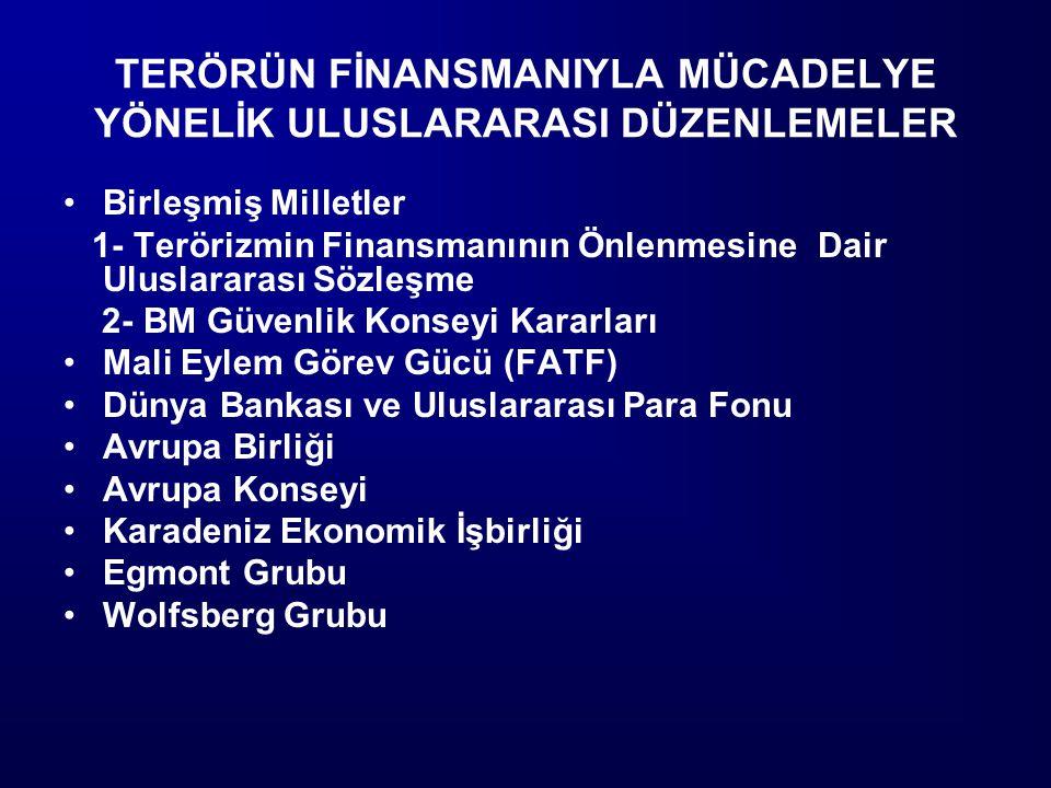 TERÖRÜN FİNANSMANIYLA MÜCADELYE YÖNELİK ULUSLARARASI DÜZENLEMELER Birleşmiş Milletler 1- Terörizmin Finansmanının Önlenmesine Dair Uluslararası Sözleş