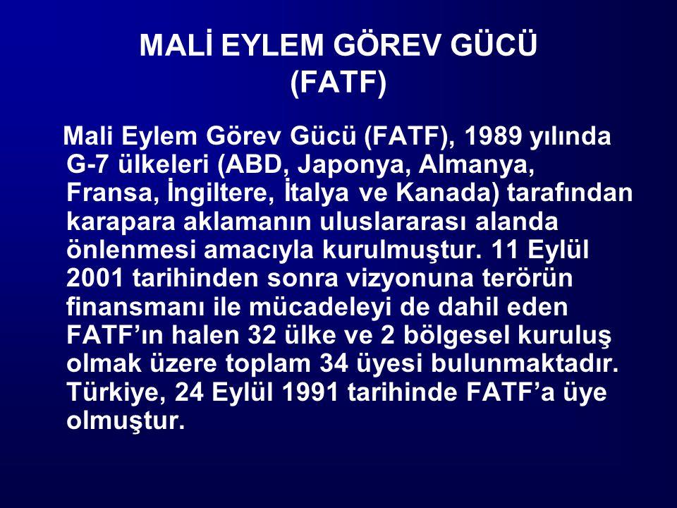 MALİ EYLEM GÖREV GÜCÜ (FATF) Mali Eylem Görev Gücü (FATF), 1989 yılında G-7 ülkeleri (ABD, Japonya, Almanya, Fransa, İngiltere, İtalya ve Kanada) tara