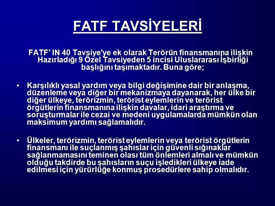 FATF TAVSİYELERİ FATF' IN 40 Tavsiye'ye ek olarak Terörün finansmanına ilişkin Hazırladığı 9 Özel Tavsiyeden 5 incisi Uluslararası İşbirliği başlığını