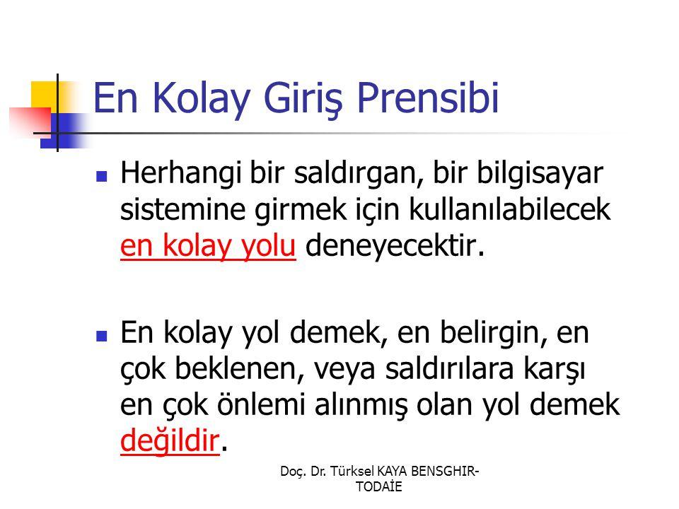 Doç. Dr. Türksel KAYA BENSGHIR- TODAİE En Kolay Giriş Prensibi Herhangi bir saldırgan, bir bilgisayar sistemine girmek için kullanılabilecek en kolay