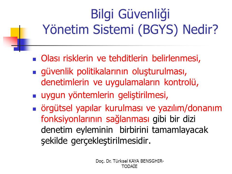 Doç. Dr. Türksel KAYA BENSGHIR- TODAİE Bilgi Güvenliği Yönetim Sistemi (BGYS) Nedir? Olası risklerin ve tehditlerin belirlenmesi, güvenlik politikalar