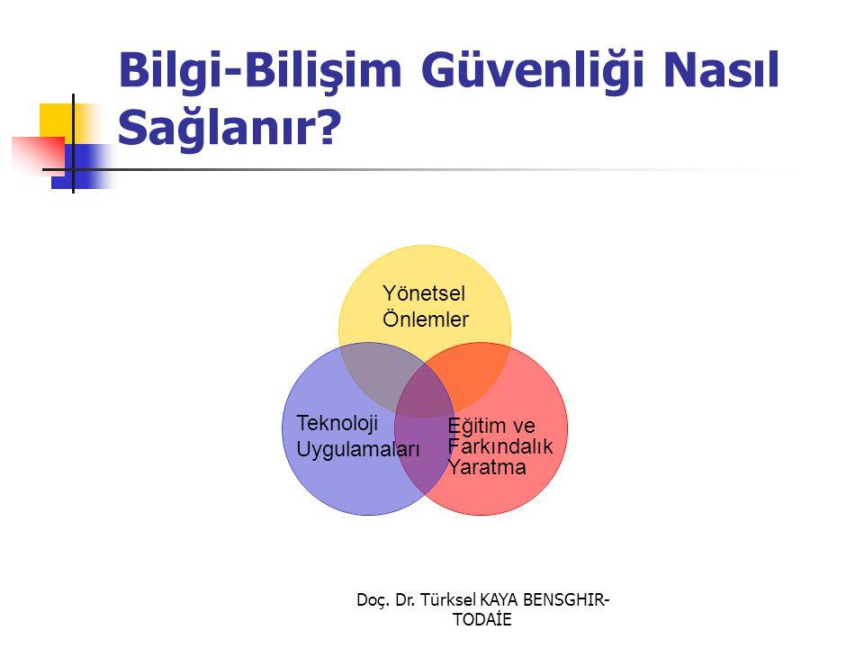 Doç. Dr. Türksel KAYA BENSGHIR- TODAİE Bilgi-Bilişim Güvenliği Nasıl Sağlanır? Yönetsel Önlemler Teknoloji Uygulamaları Eğitim ve Farkındalık Yaratma