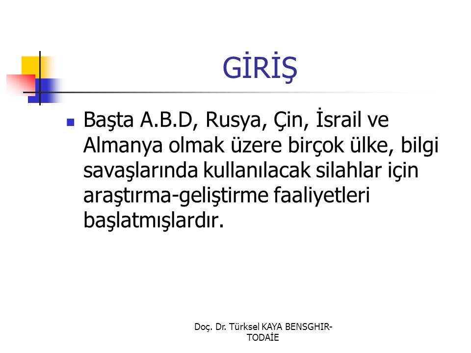 Doç. Dr. Türksel KAYA BENSGHIR- TODAİE GİRİŞ Başta A.B.D, Rusya, Çin, İsrail ve Almanya olmak üzere birçok ülke, bilgi savaşlarında kullanılacak silah