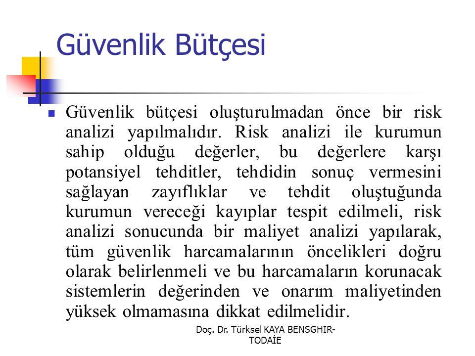 Doç. Dr. Türksel KAYA BENSGHIR- TODAİE Güvenlik Bütçesi Güvenlik bütçesi oluşturulmadan önce bir risk analizi yapılmalıdır. Risk analizi ile kurumun s