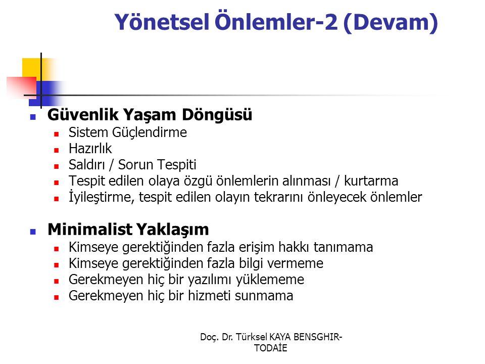 Doç. Dr. Türksel KAYA BENSGHIR- TODAİE Yönetsel Önlemler-2 (Devam) Güvenlik Yaşam Döngüsü Sistem Güçlendirme Hazırlık Saldırı / Sorun Tespiti Tespit e