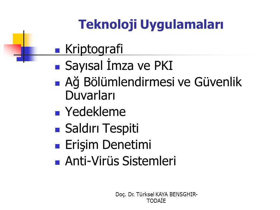 Doç. Dr. Türksel KAYA BENSGHIR- TODAİE Teknoloji Uygulamaları Kriptografi Sayısal İmza ve PKI Ağ Bölümlendirmesi ve Güvenlik Duvarları Yedekleme Saldı
