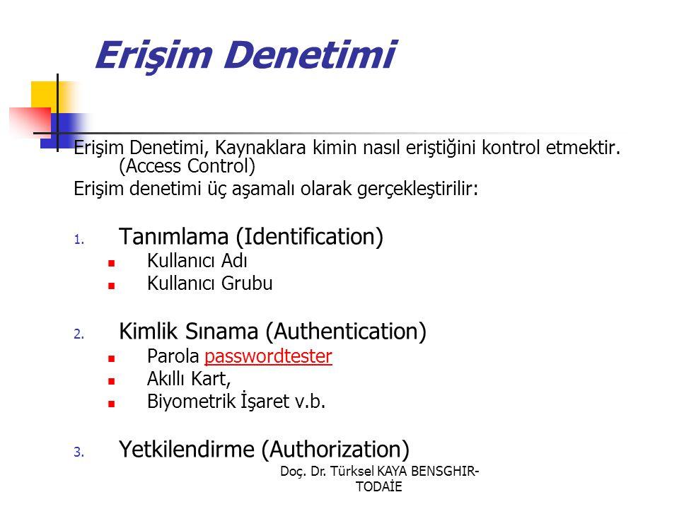 Doç. Dr. Türksel KAYA BENSGHIR- TODAİE Erişim Denetimi Erişim Denetimi, Kaynaklara kimin nasıl eriştiğini kontrol etmektir. (Access Control) Erişim de