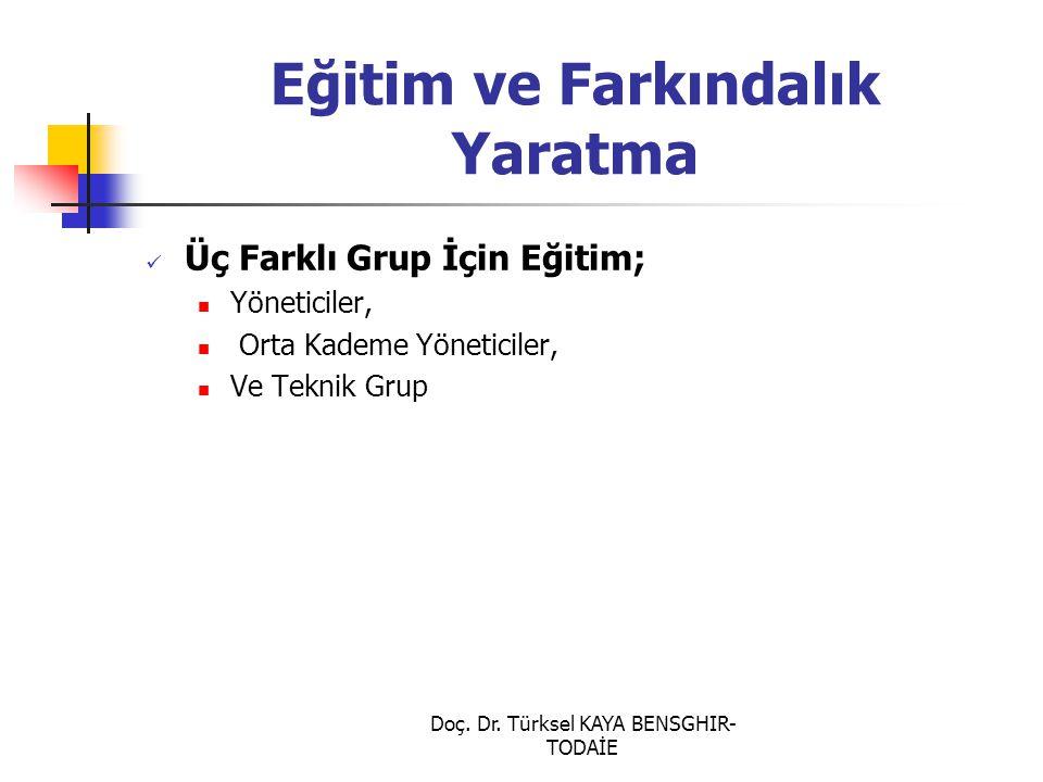Doç. Dr. Türksel KAYA BENSGHIR- TODAİE Eğitim ve Farkındalık Yaratma Üç Farklı Grup İçin Eğitim; Yöneticiler, Orta Kademe Yöneticiler, Ve Teknik Grup