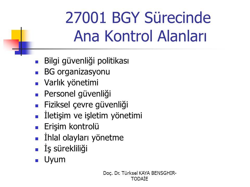 Doç. Dr. Türksel KAYA BENSGHIR- TODAİE 27001 BGY Sürecinde Ana Kontrol Alanları Bilgi güvenliği politikası BG organizasyonu Varlık yönetimi Personel g