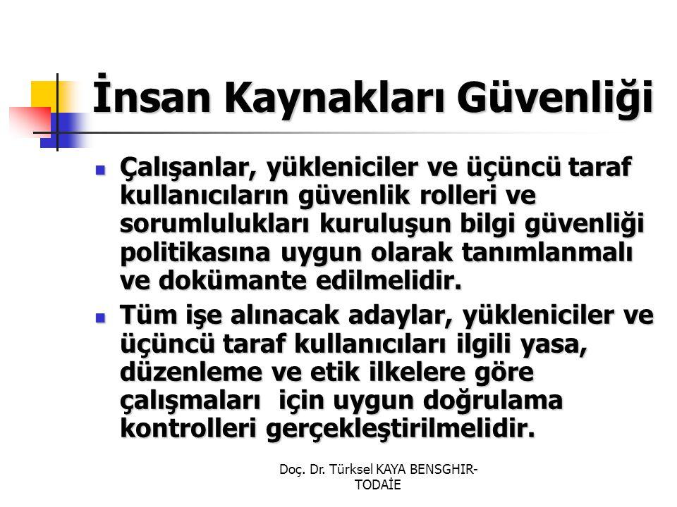 Doç. Dr. Türksel KAYA BENSGHIR- TODAİE İnsan Kaynakları Güvenliği Çalışanlar, yükleniciler ve üçüncü taraf kullanıcıların güvenlik rolleri ve sorumlul