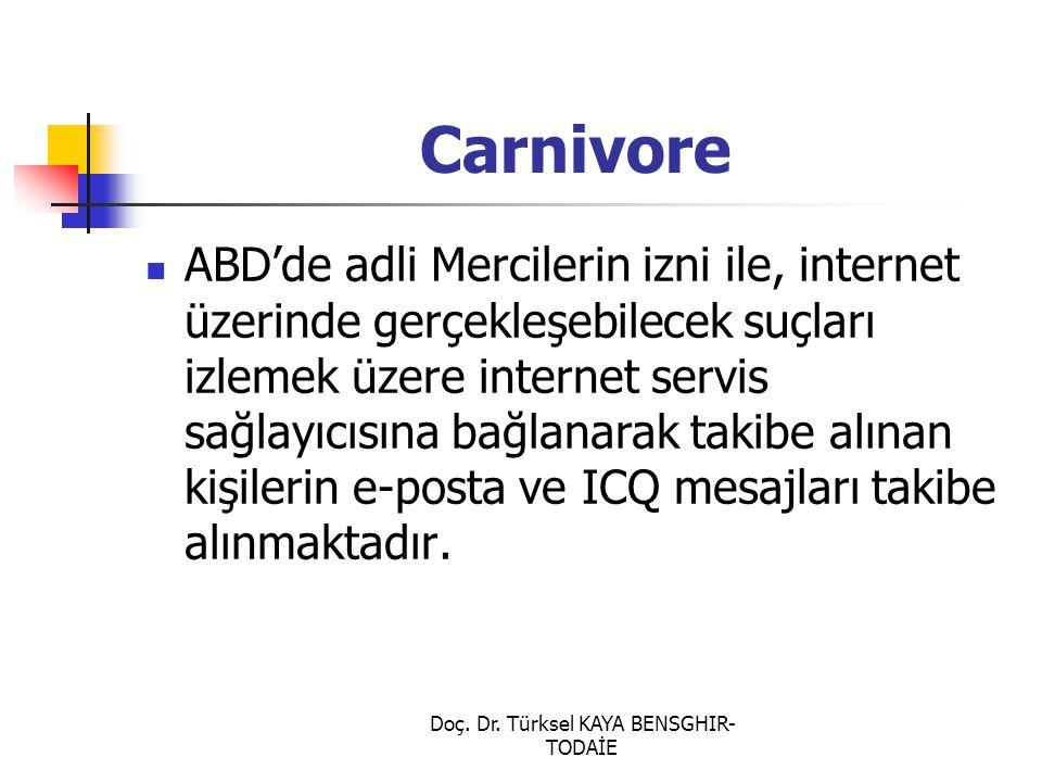 Doç. Dr. Türksel KAYA BENSGHIR- TODAİE Carnivore ABD'de adli Mercilerin izni ile, internet üzerinde gerçekleşebilecek suçları izlemek üzere internet s