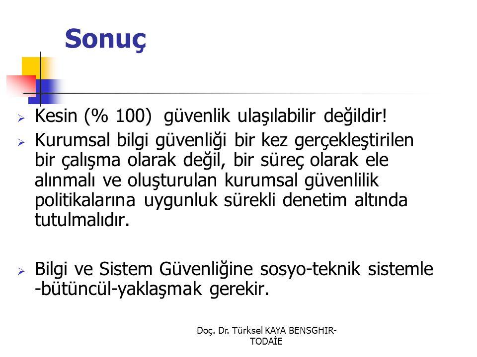 Doç. Dr. Türksel KAYA BENSGHIR- TODAİE Sonuç  Kesin (% 100) güvenlik ulaşılabilir değildir!  Kurumsal bilgi güvenliği bir kez gerçekleştirilen bir ç