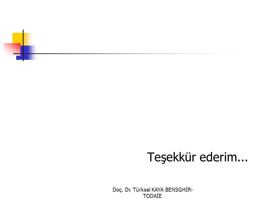 Doç. Dr. Türksel KAYA BENSGHIR- TODAİE Teşekkür ederim...