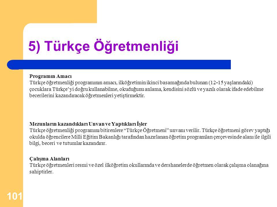 5) Türkçe Öğretmenliği Programın Amacı Türkçe öğretmenliği programının amacı, ilköğretimin ikinci basamağında bulunan (12-15 yaşlarındaki) çocuklara T