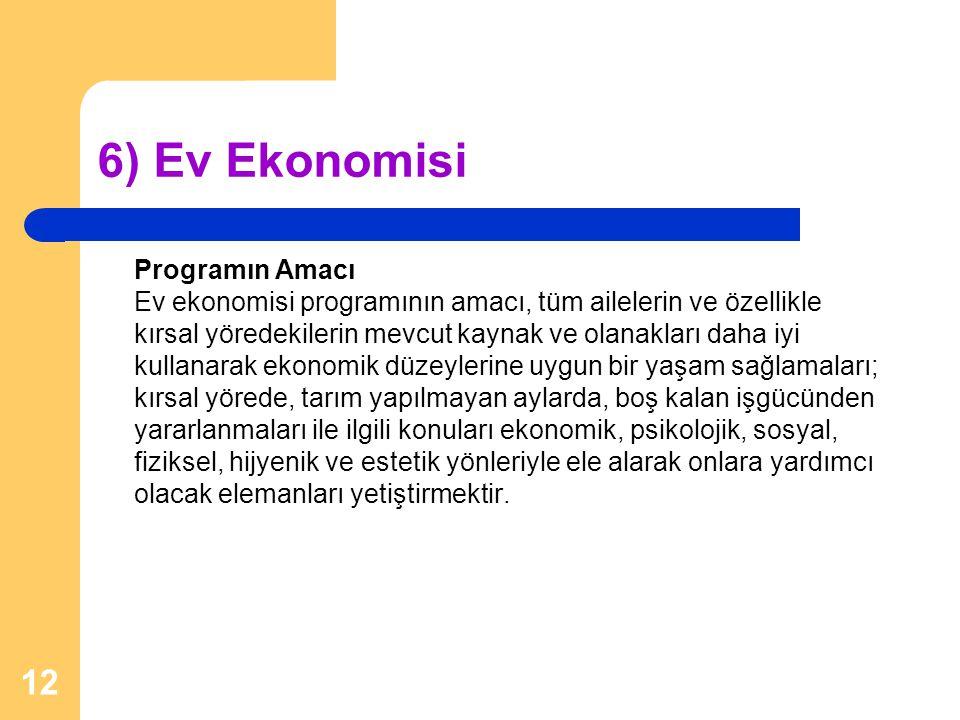 6) Ev Ekonomisi Programın Amacı Ev ekonomisi programının amacı, tüm ailelerin ve özellikle kırsal yöredekilerin mevcut kaynak ve olanakları daha iyi k