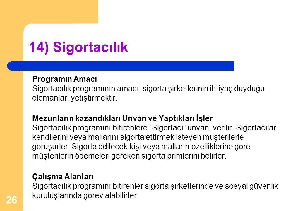 14) Sigortacılık Programın Amacı Sigortacılık programının amacı, sigorta şirketlerinin ihtiyaç duyduğu elemanları yetiştirmektir. Mezunların kazandıkl