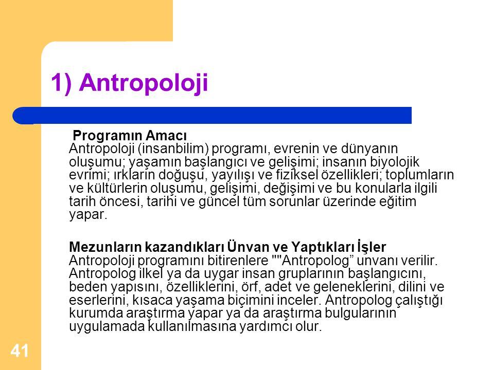 41 1) Antropoloji Programın Amacı Antropoloji (insanbilim) programı, evrenin ve dünyanın oluşumu; yaşamın başlangıcı ve gelişimi; insanın biyolojik ev