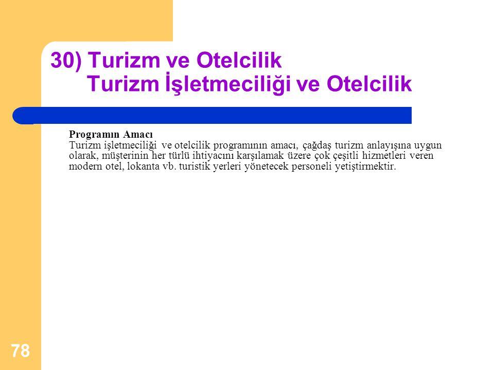 78 30) Turizm ve Otelcilik Turizm İşletmeciliği ve Otelcilik Programın Amacı Turizm işletmeciliği ve otelcilik programının amacı, çağdaş turizm anlayı