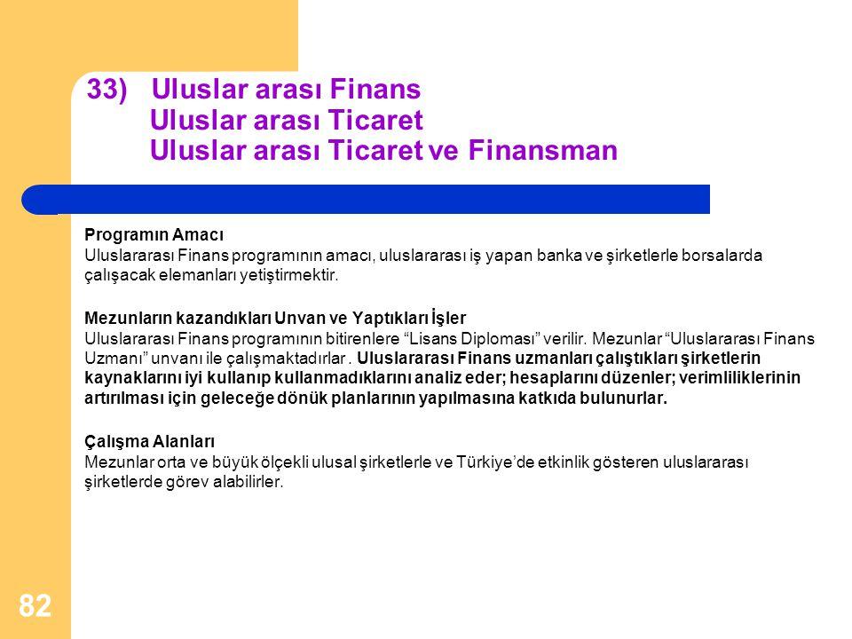 33) Uluslar arası Finans Uluslar arası Ticaret Uluslar arası Ticaret ve Finansman Programın Amacı Uluslararası Finans programının amacı, uluslararası