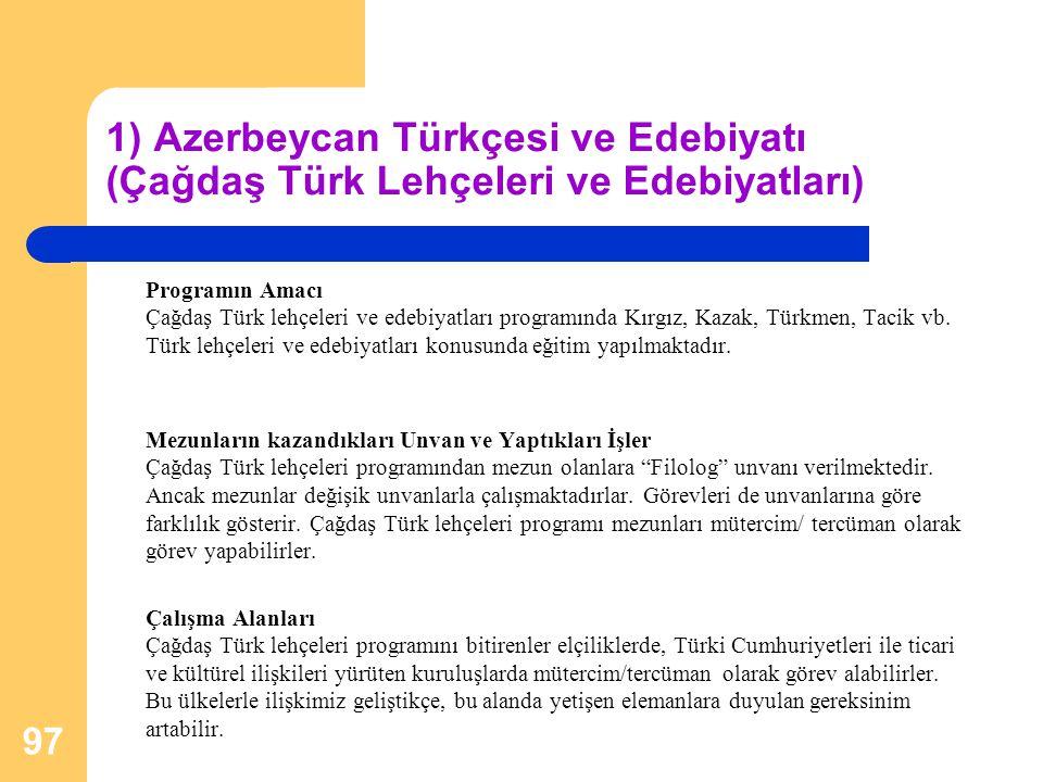 1) Azerbeycan Türkçesi ve Edebiyatı (Çağdaş Türk Lehçeleri ve Edebiyatları) Programın Amacı Çağdaş Türk lehçeleri ve edebiyatları programında Kırgız,