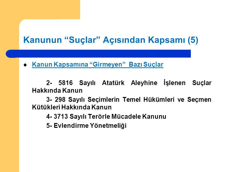 """Kanunun """"Suçlar"""" Açısından Kapsamı (5) Kanun Kapsamına """"Girmeyen"""" Bazı Suçlar 2- 5816 Sayılı Atatürk Aleyhine İşlenen Suçlar Hakkında Kanun 3- 298 Say"""